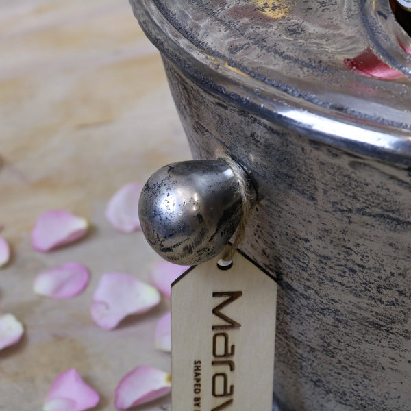 Vintage Large Champagne Ice Bucket closeup of handle
