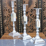 Lasara Candlestick Holder Square Polished Metal Silver