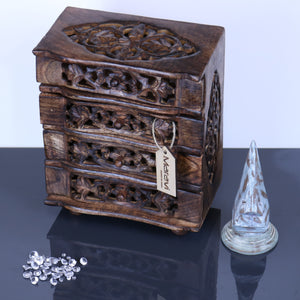 Reru Mini 4 Drawer Chest Leaf Carving