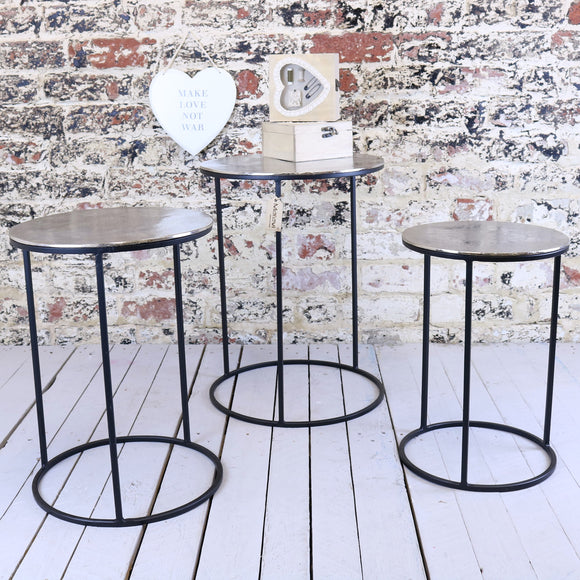 Karari Vintage Metal Set of 3 Occasional Tables