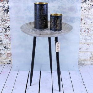 Dolike Metal Side Table Antiqued Silver