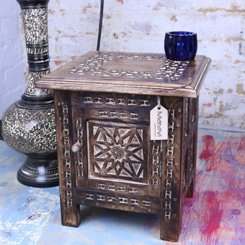 Kumara Wooden 30cm Hand Carved Moroccan Style Table With Storage Compartment