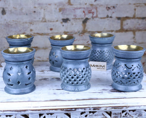 Nokari Grey Carved Soapstone Oil Burner - 6 Designs