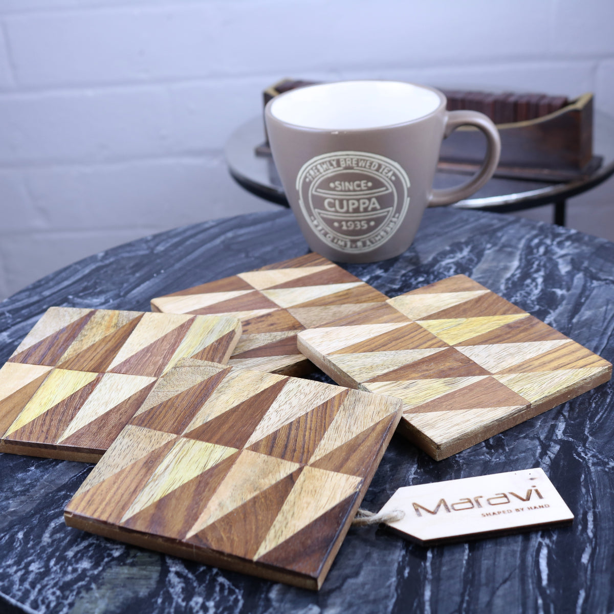 Soneli Set of 4 Wooden Inlay Coasters - 4 Designs