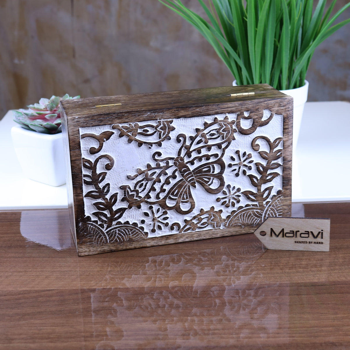 Melur Butterfly Mango Wood Box