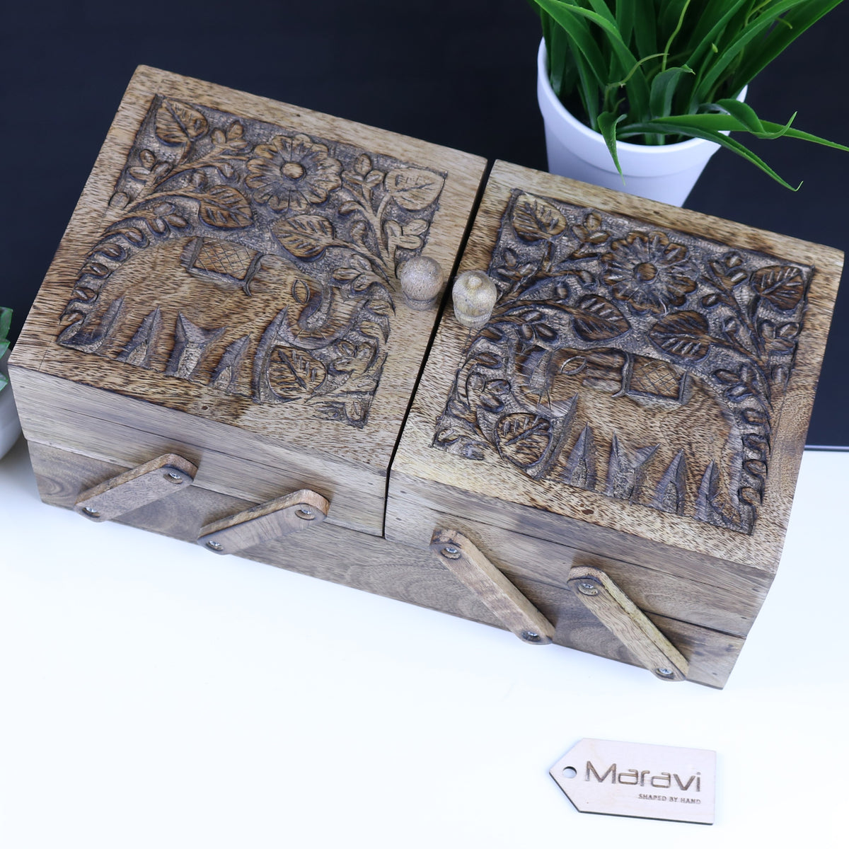 Kiralur Two Tier Sewing Box Mango Wood Elephant Design