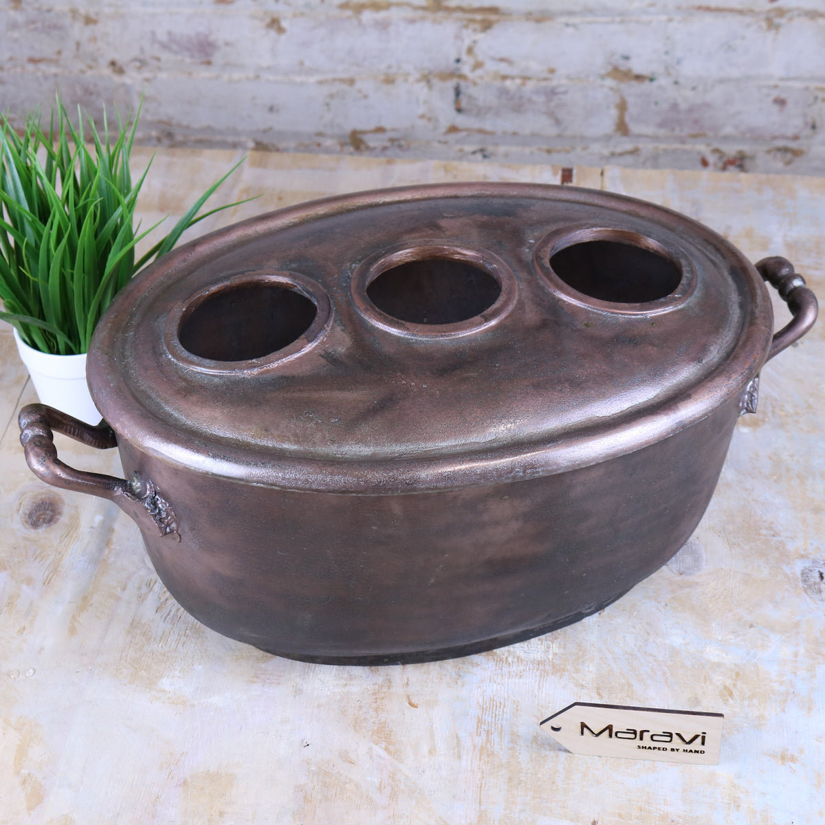 Doria Copper Vintage Style 3 Bottle Oval Wine Cooler