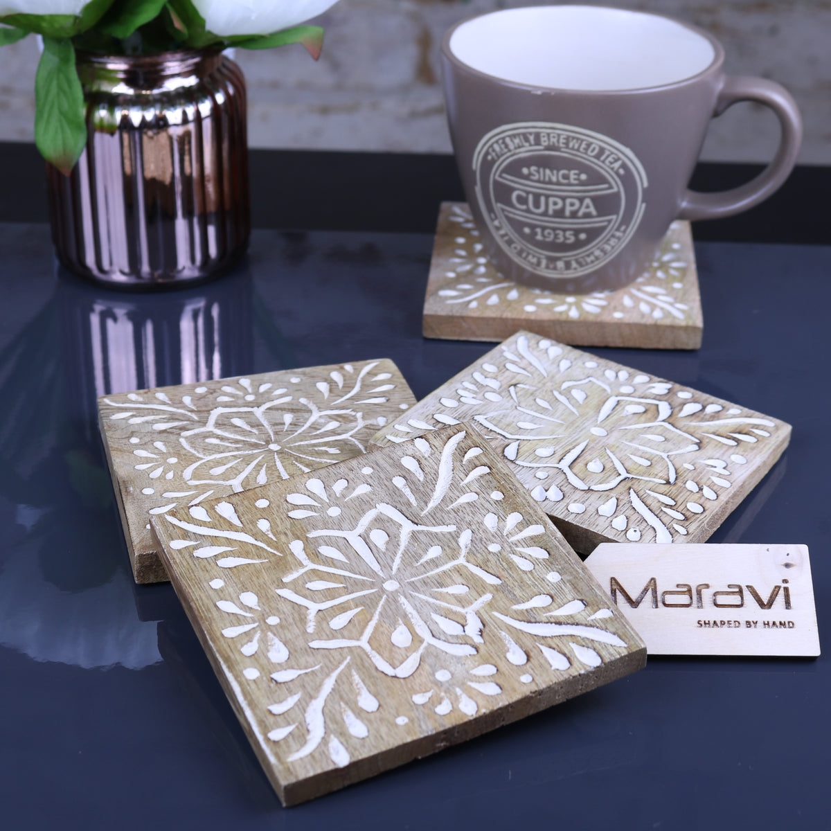 Ottu Square Carved Wooden Coaster Set - 2 Designs