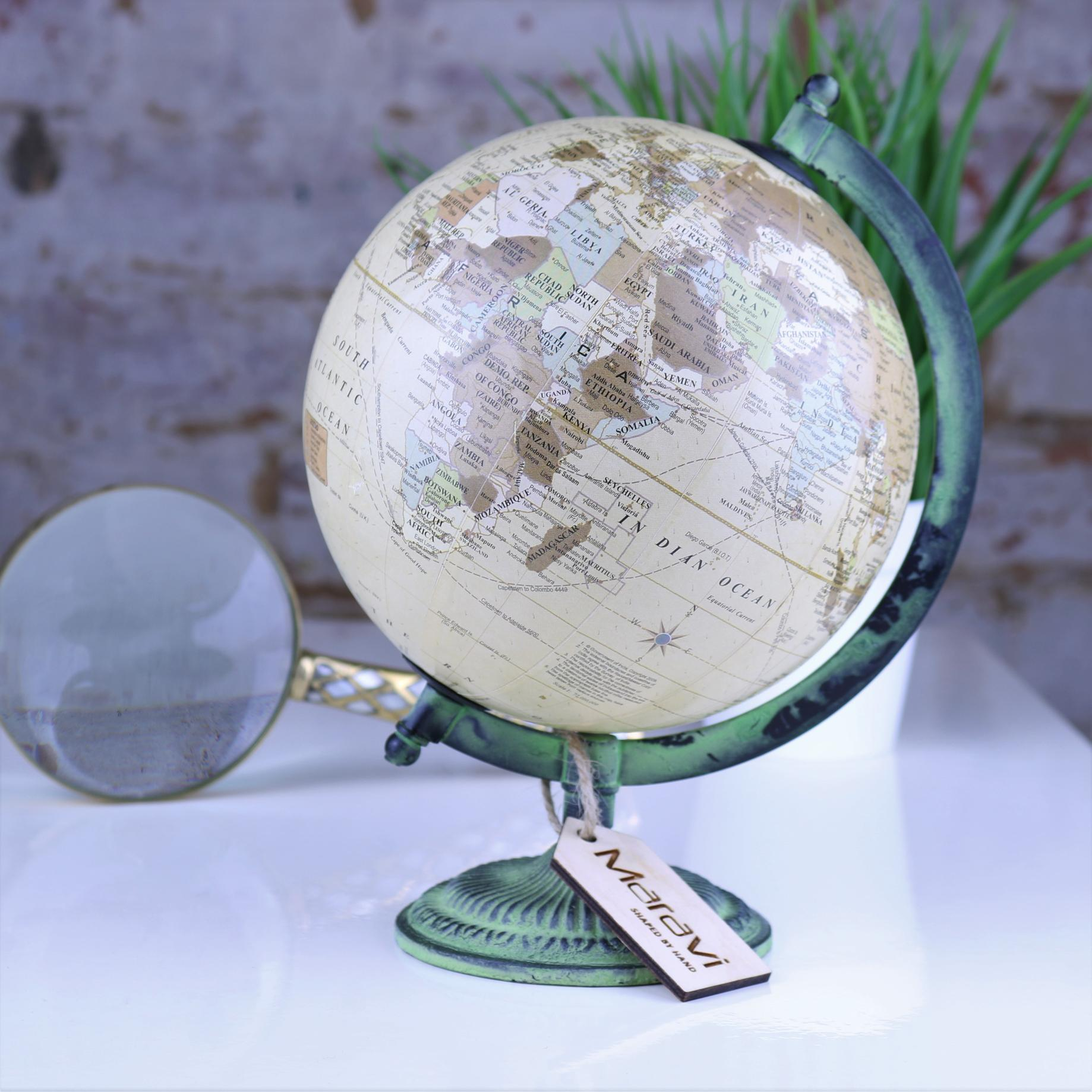 Dunya World Globe Ornament Vintage Cream