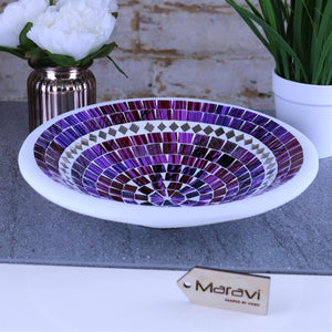 Natas Mosaic Bowl 28cm Purple