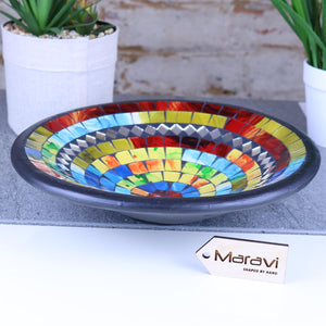 Gadli Mosaic Bowl 28cm Multicolour and Mirrors