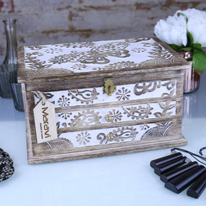 Riksa 2 Draw Jewellery Box with Carved Butterfly
