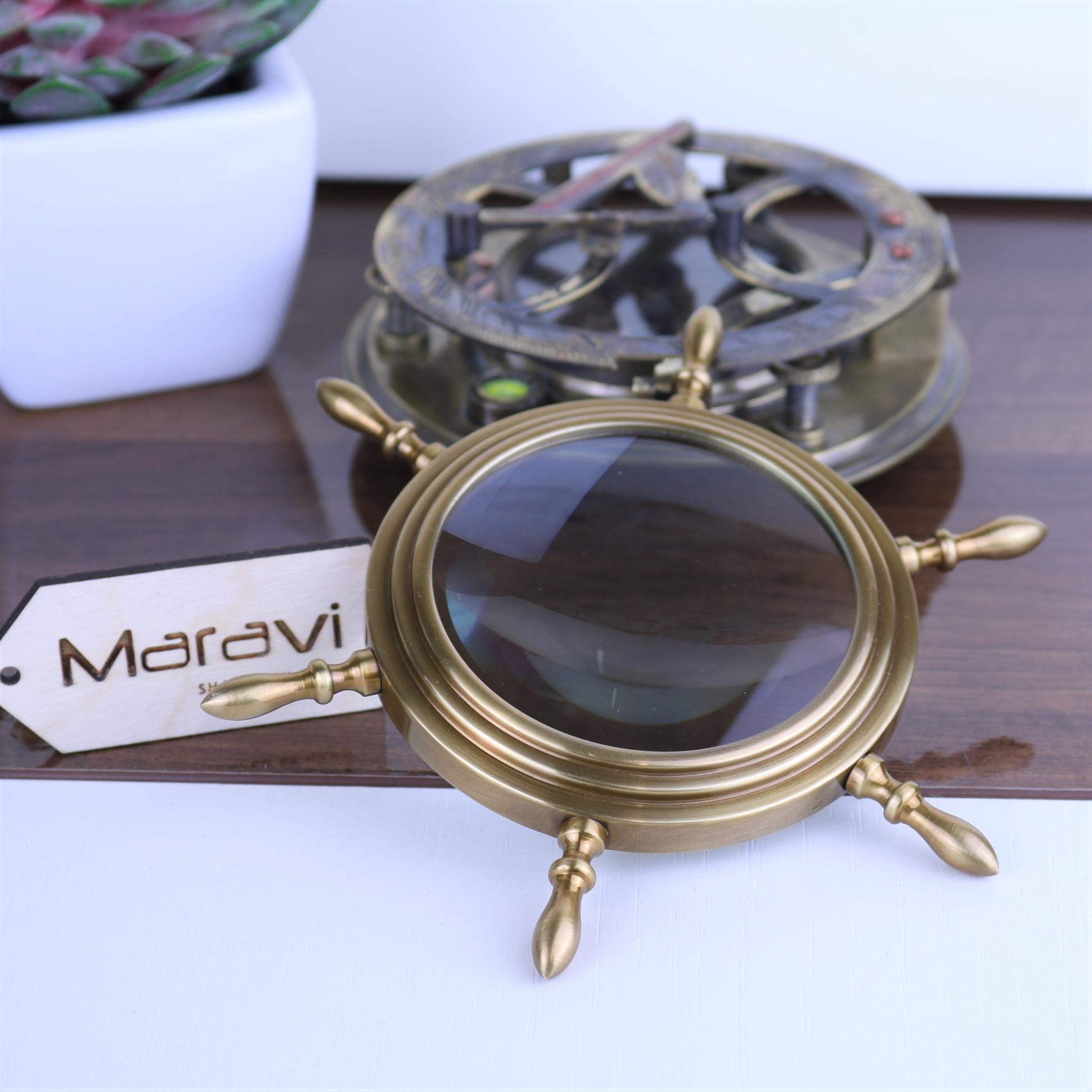 Dindi Ships Wheel Brass Desk Magnifier