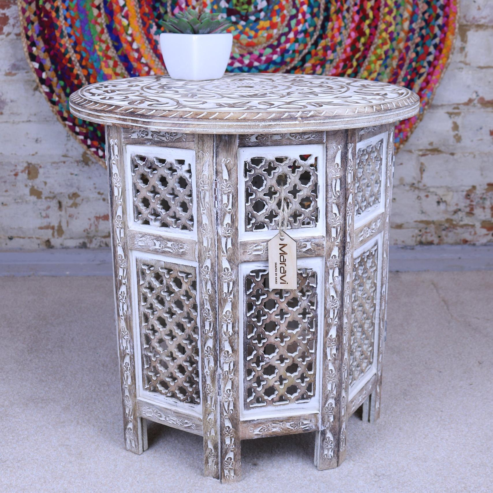 Ewad 46cm Round Side Table Carved Limewash