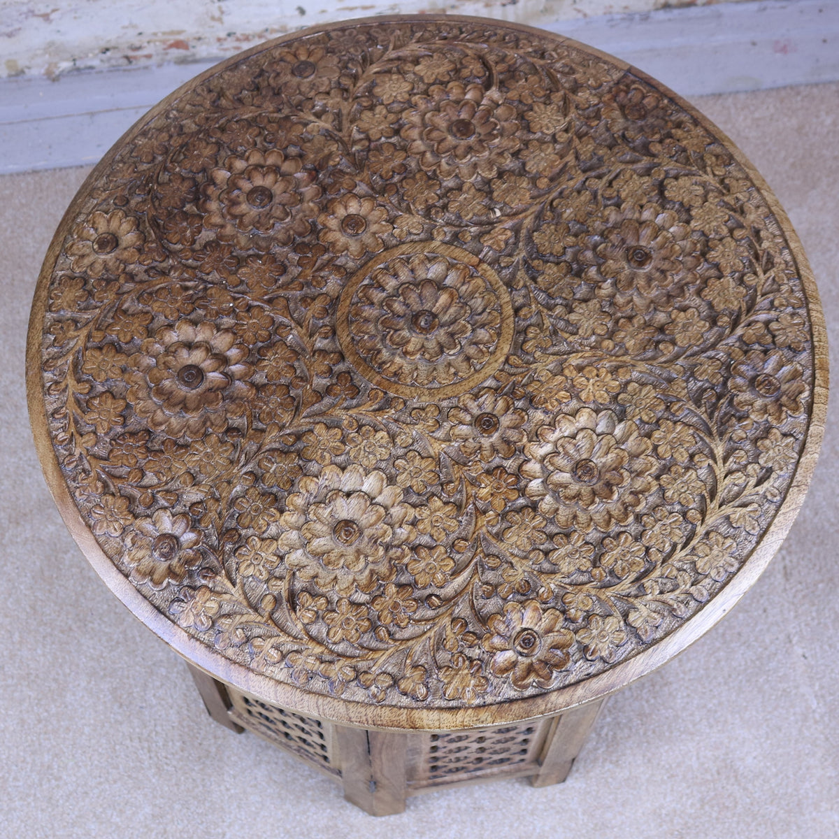 Round Handcrafted Mango Wood Side Table Carved Flower Pattern