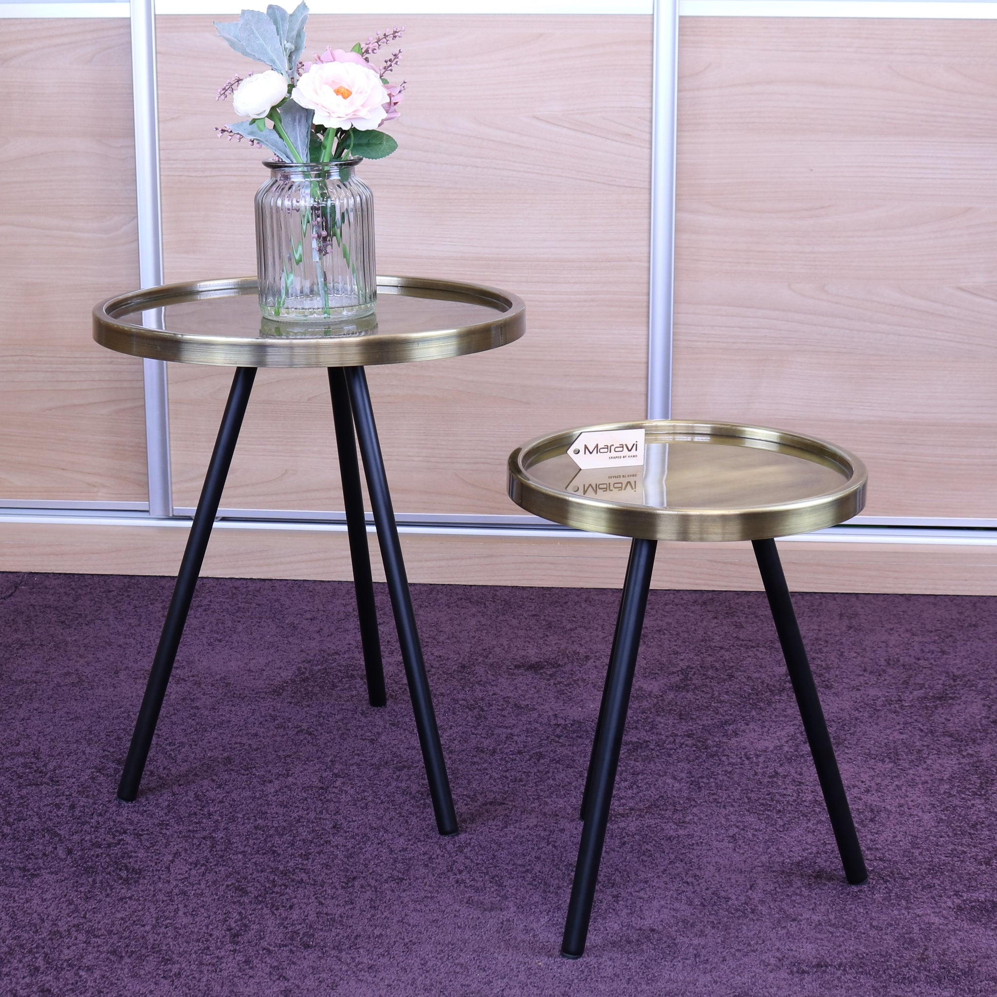 Ari Set of 2 Round Gold Tripod Leg Side Tables