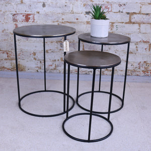 Karari Vintage Gold Metal Set of 3 Occasional Tables