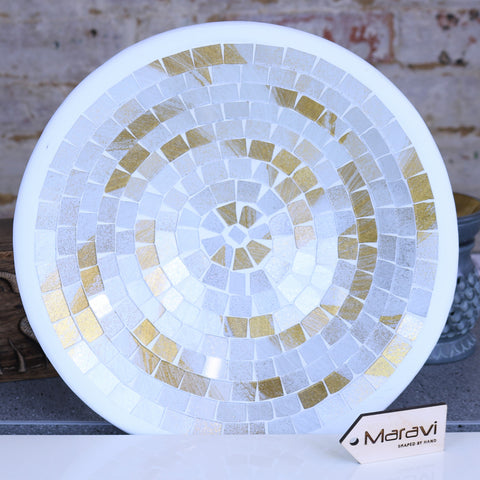 Farwain Mosaic Bowl 28cm Gold and White