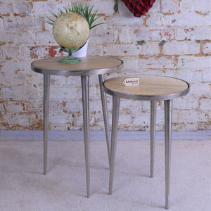 Set of 2 Aluminium Rough Cast Tables with Mango Wood Tops
