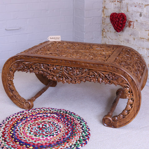 Fully Carved Sled Coffee Table