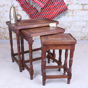 Set of 3 Sheesham Wood Nest of Tables Carved Detailing