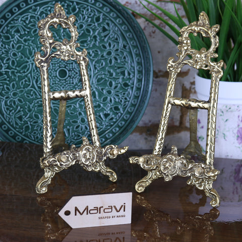 Saramati Set of 2 Small Decorative Brass Display Easels