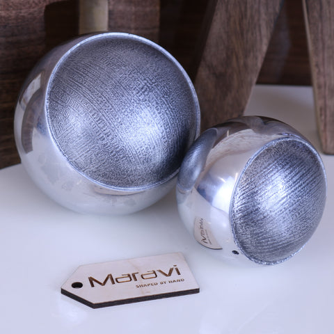 Sarsa Sphere Ornament Set of 2 Silver Finish