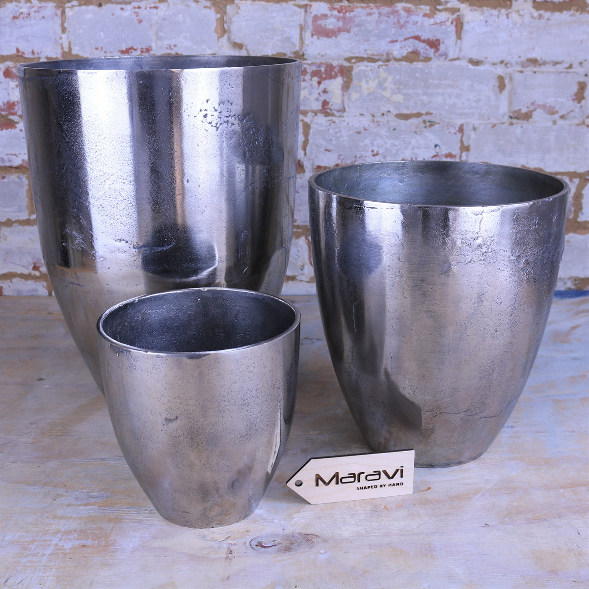 Minda Set of 3 Distressed Metal Planters