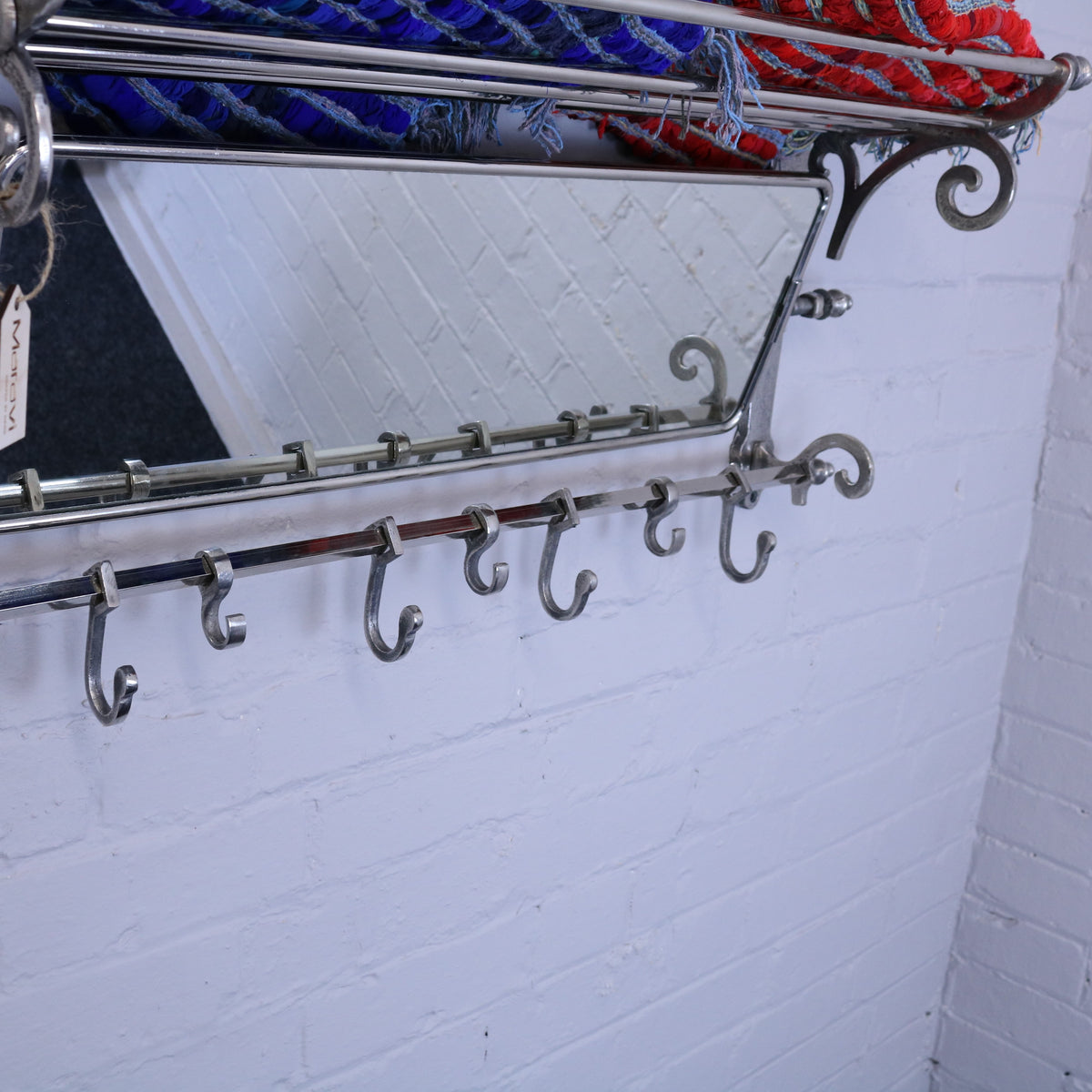 Lohit Train Rack with Mirror Vintage Finish 7 Hook Coat Hanger