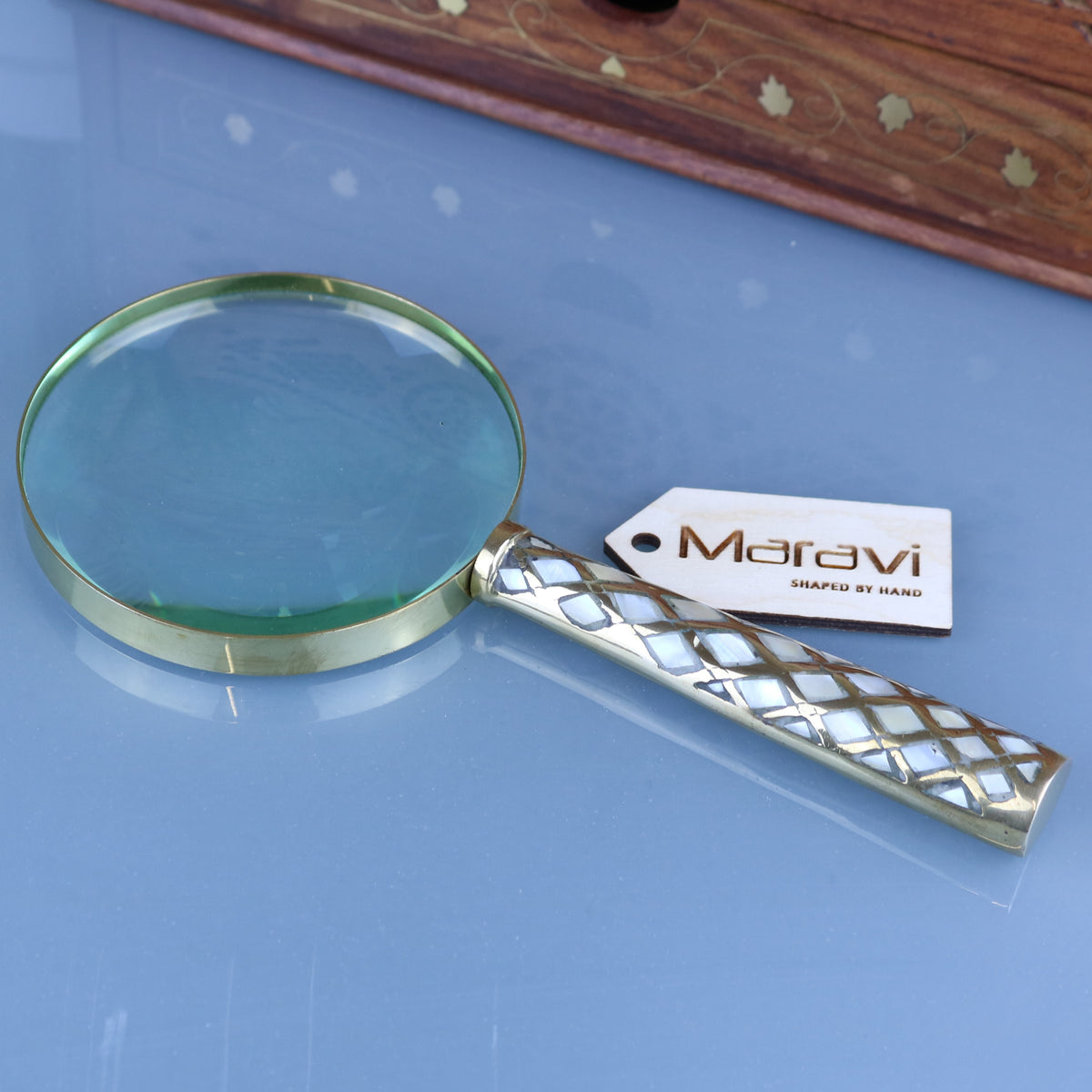 Zuari Brass Magnifying Glass and Letter Opener Set