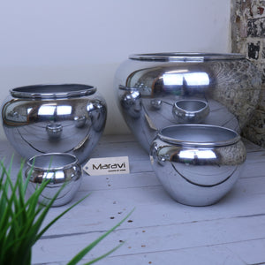 Deola Set of 4 Polished Aluminium Ball Shape Planters