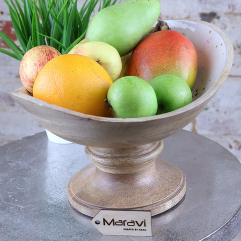 Handcrafted Mango Wood Fruit Bowl with White and Gold Enamel Interior