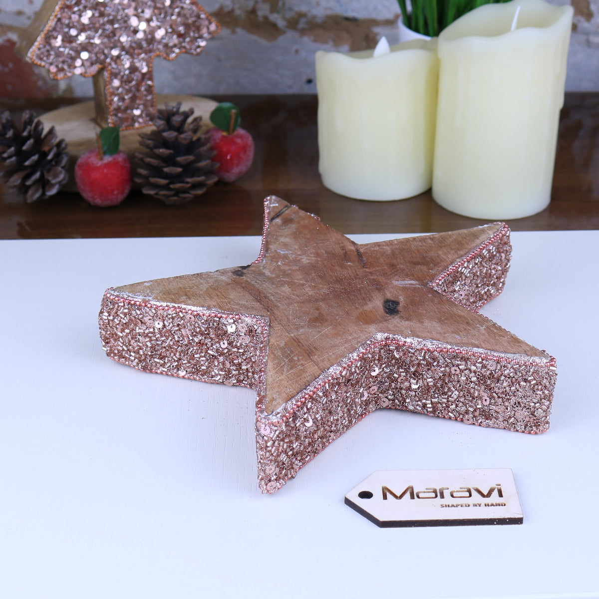 Lovell Decorative Board 20cm Star Copper Jewel Design