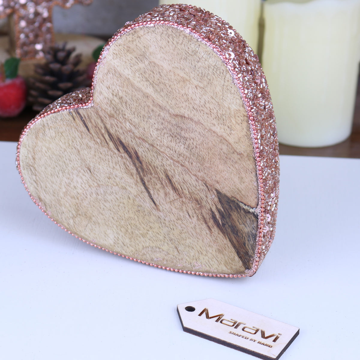 Lovell Decorative Board Heart with Copper Jewel Design