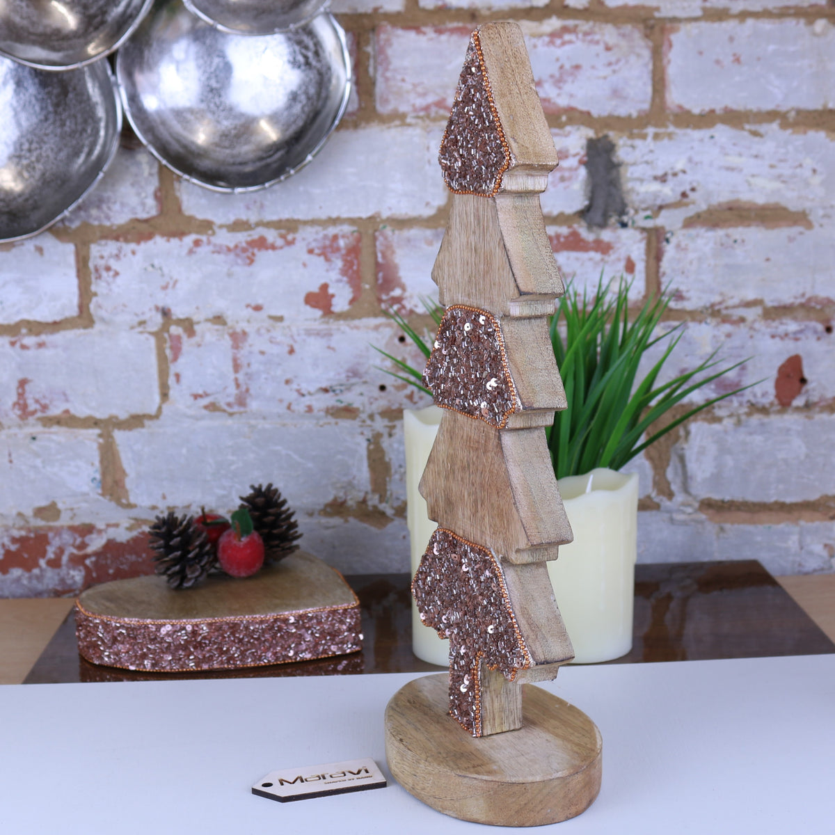 Lovell Christmas Tree Shape Table Decoration Copper Jewel Design 38cm
