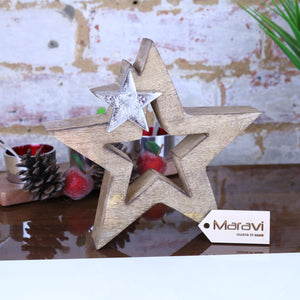 Lovell Decorative Wooden 20cm Star Decoration