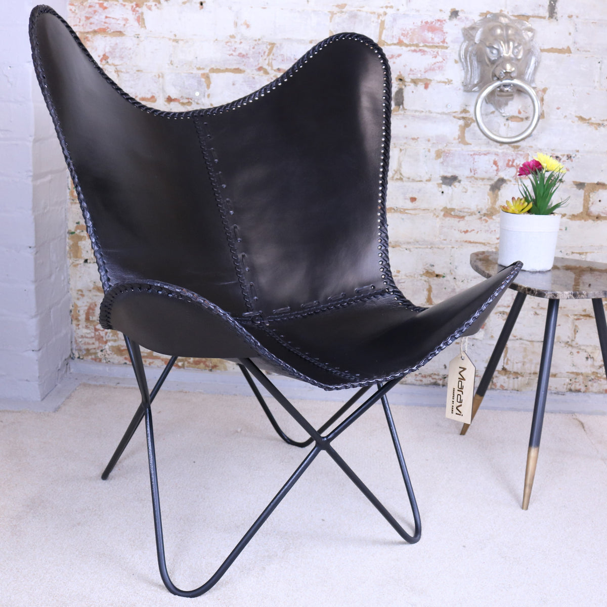 Oya Butterfly Leather Chair Dark Brown