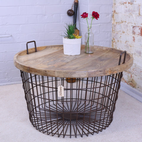 Tilpi Basket Table With Wood Lid