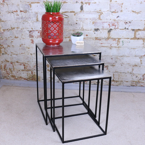 Karari Set of 3 Square Aluminium Tables Distressed Finish