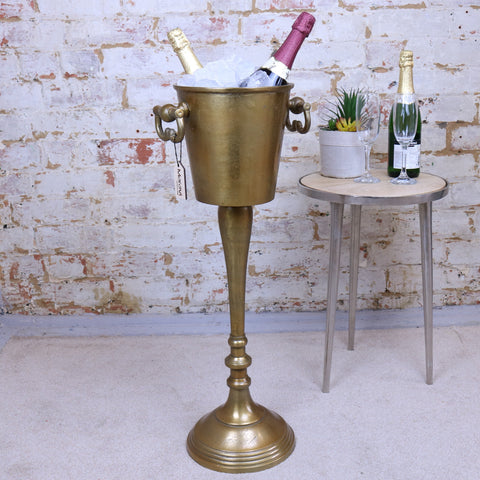 Indus Floor Standing Champagne Ice Bucket Antique Gold