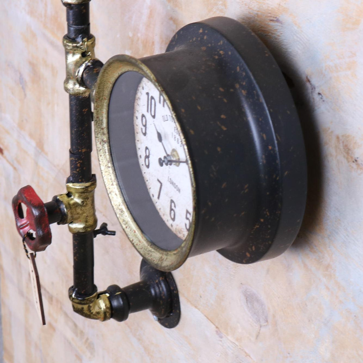 Balpur Industrial Pipe Wall Clock Black and Antique Gold