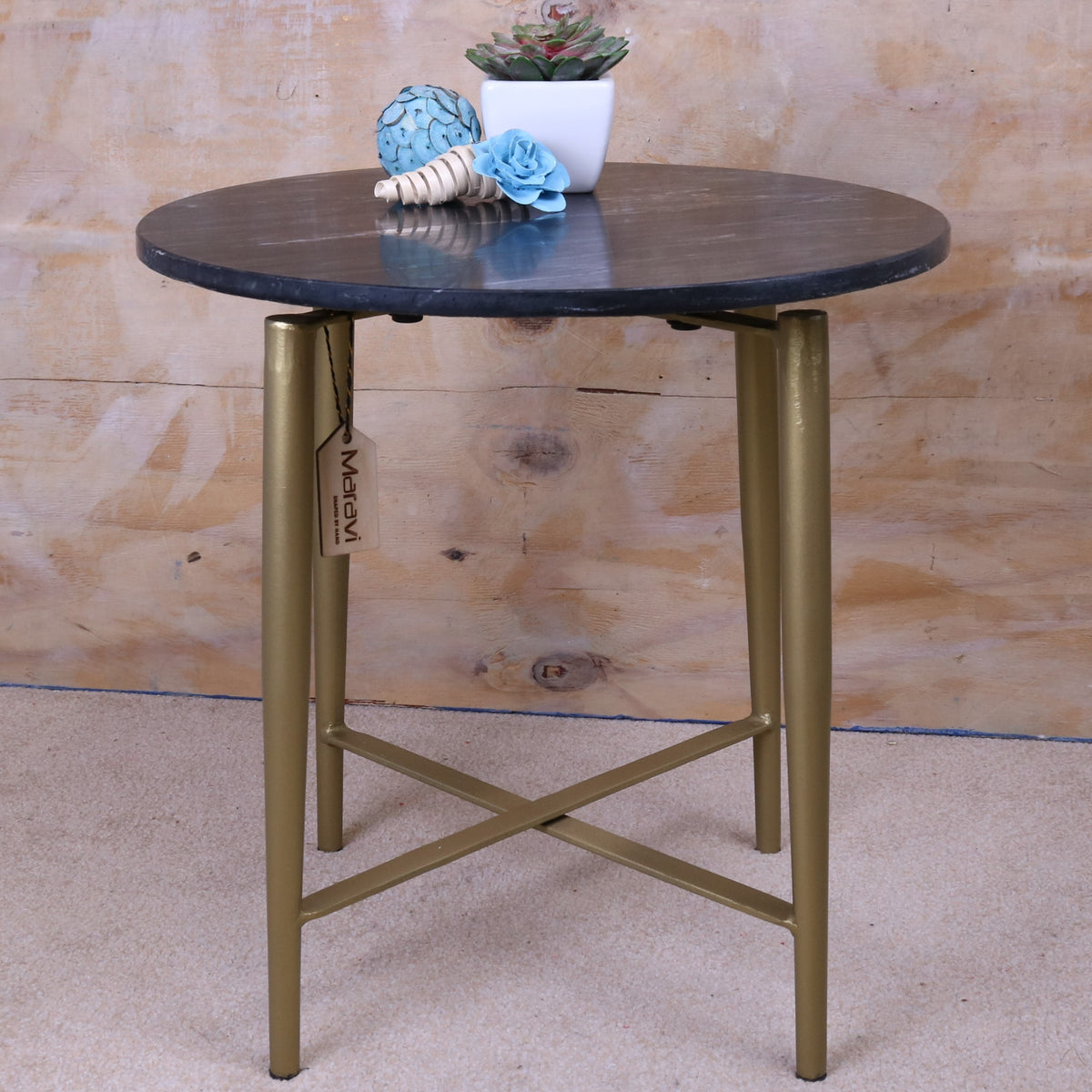 Liwal Black Marble Top Table Gold Legs 43cm