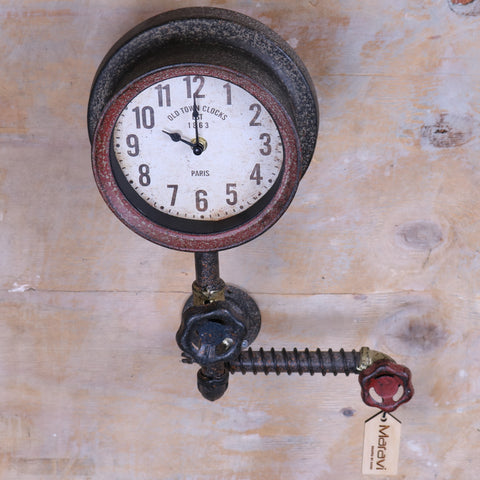 Balpur Industrial Pipe Wall Clock Red and Gold