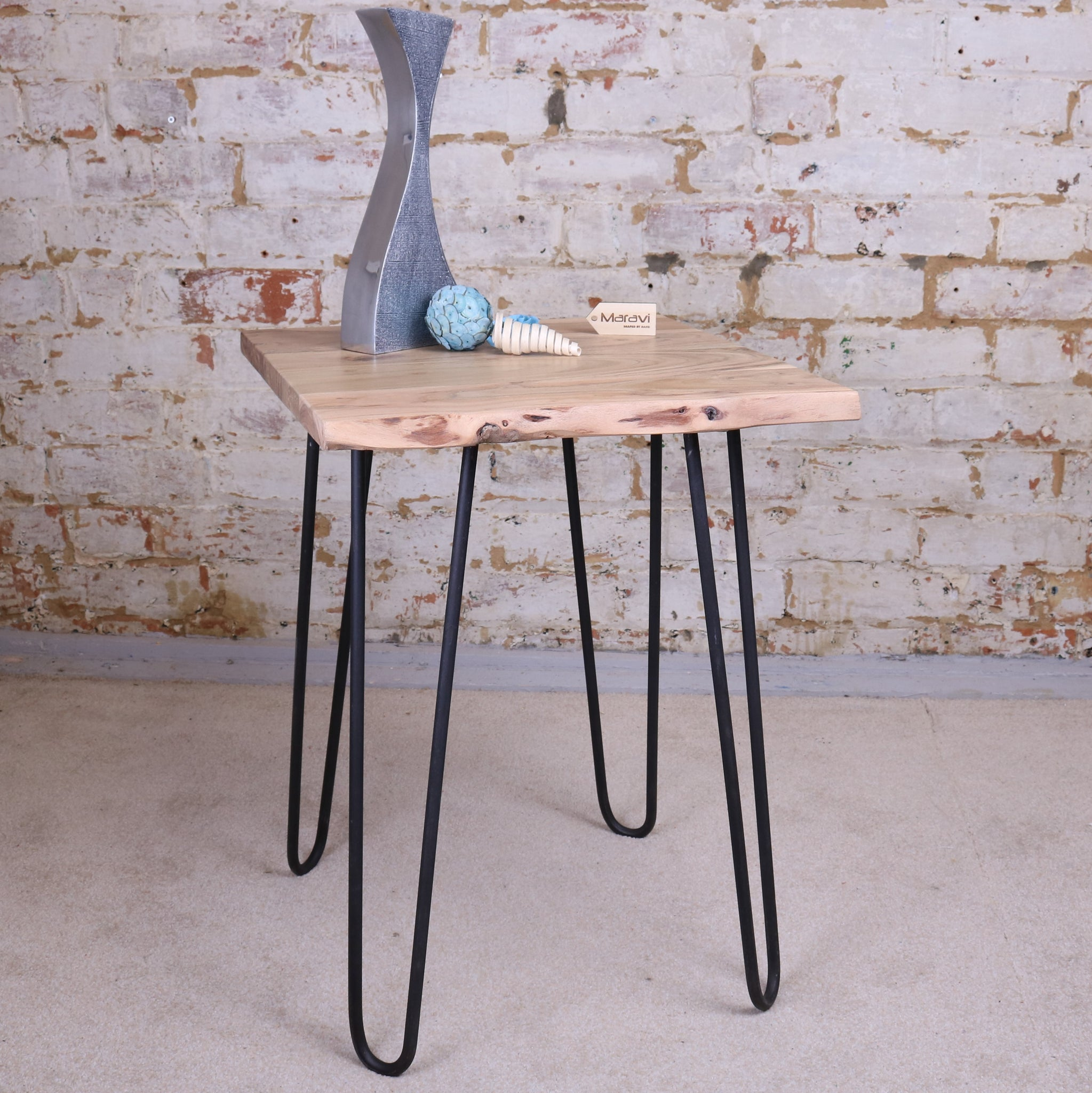 Kalan Rustic Edge Wooden Side Table 45cm