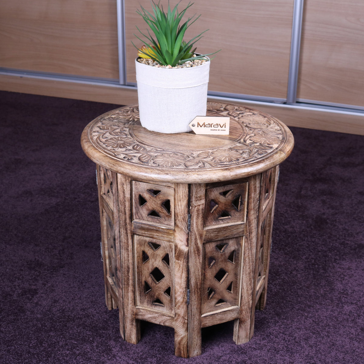 Ding 37cm Round Side Table Burnt Mango Wood