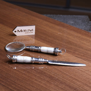 Palri Mini Magnifier and Letter Opener Set Mother of Pearl
