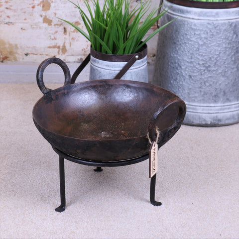 Vintage Kadai Bowl with Stand Garden Fire Bowl