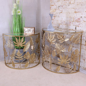 Wanwat Gold Leaf Half Moon Side Table Set of 2