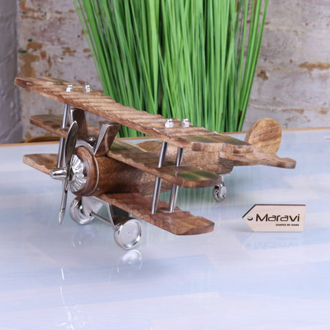 Narpala Mango Wood Aeroplane Model 33cm