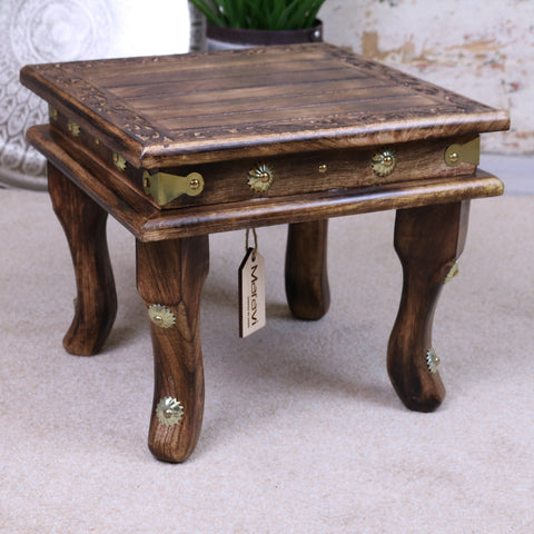 Pohar Mango Wood Footstool with Brass Detailing